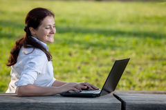 Laptop business woman Stock Image