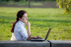 Laptop business woman Stock Images