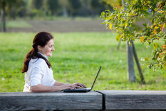 Laptop business woman Stock Photo