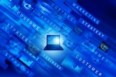 Laptop with business words. On abstract blue background .3d illustration Stock Image