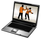 Laptop and businessman royalty free stock photo