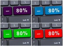 Laptop button with 80% discounting Stock Image