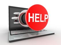 Laptop and button help. Laptop help symbol (done in 3d, isolated Stock Image