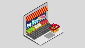 Laptop buy online grocery shopping e-commerce store flat 3d isometric animated concept electronic business sales. stock video footage