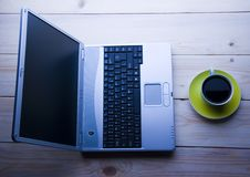 Laptop & Cafe Stock Images