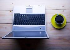Laptop & Cafe Royalty Free Stock Image
