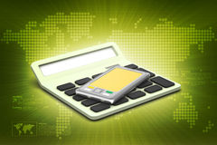 Laptop with calculator Royalty Free Stock Photos
