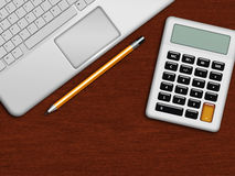 Laptop, calculator and pencil lying on wooden desk in office Stock Photography