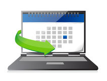 Laptop with a calendar on screen illustration Stock Photo