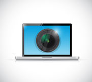 Laptop and camera lens illustration design Stock Image