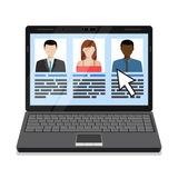Laptop with candidates list. stock image