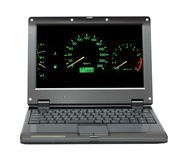 Laptop with car control panel Royalty Free Stock Images