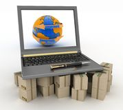 Laptop on cardboard boxes. Concept of online goods orders worldwide Royalty Free Stock Images