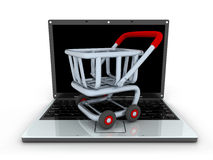 Laptop and cart Royalty Free Stock Photo