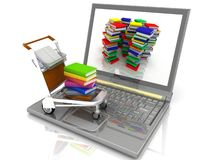 Laptop and cart with books Stock Images