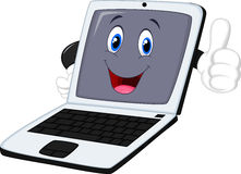Laptop cartoon giving thumb up Royalty Free Stock Images