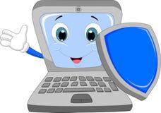 Laptop cartoon holding a shield Royalty Free Stock Image