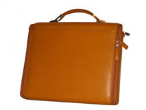 Laptop case. Can be used as briefcase, sleek, tan leather, isolated Royalty Free Stock Photography