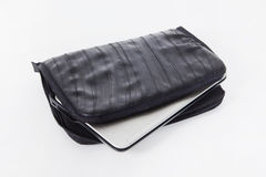 Laptop case with PC. Laptop case from bicycle tires Royalty Free Stock Image