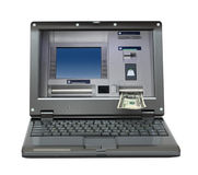 Laptop with cash dispense on screen Stock Image