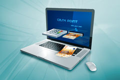 a laptop with a cash machine  Stock Photos