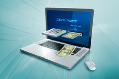 A laptop with a cash machine Stock Photos