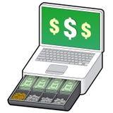 Laptop cash register for e-commerce Stock Images