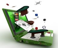 Laptop and casino. On line Stock Images
