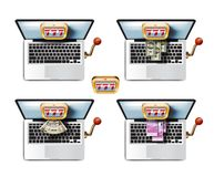 Laptop. Casino game. A collection of colored icons Royalty Free Stock Photo