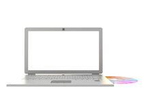 Laptop cd data transfer Stock Photos