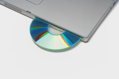 Laptop with cd / dvd Royalty Free Stock Image