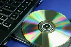 Laptop CD Tellersegment stockbild