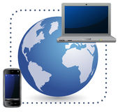 Laptop and cellphone. Global Mobile Communication Concept. Laptop and cellphone Stock Illustration