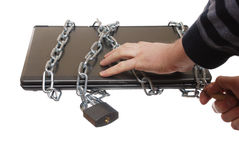 Laptop in the chain Stock Image