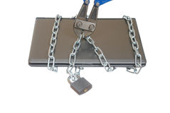 Laptop in the chain Stock Photos