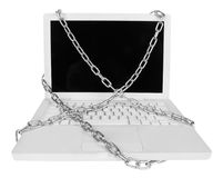 Laptop with chains Royalty Free Stock Photos