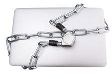 Laptop and Chains IV stock photography