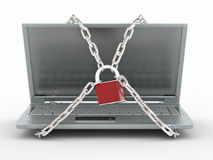 Laptop with chains and lock Stock Images