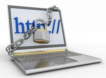 Laptop with chains and lock. 3d  illustration on white isolated background Royalty Free Stock Image