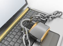 Laptop with chains and lock. 3d illustration on white isolated background Stock Photo