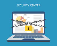 Laptop with chains and locked  a padlock. Laptop computer are bound with chains and locked with a padlock. concept of security center. flat illustration concept Stock Photo