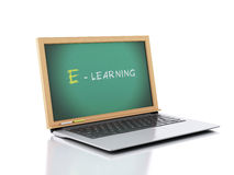 Laptop with chalkboard. E-laerning education concept. 3d illustr Royalty Free Stock Images