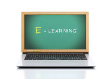 Laptop with chalkboard. E-laerning education concept. 3d illustr Royalty Free Stock Photo