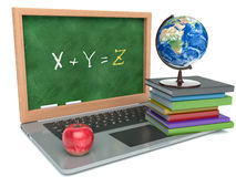 Laptop with chalkboard. education concept. 3d Royalty Free Stock Photo