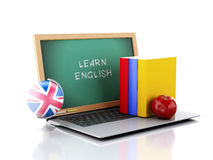 Laptop with chalkboard. Learn English concept. 3d illustration Stock Image