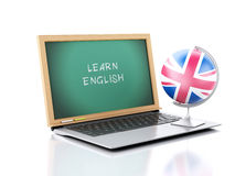 Laptop with chalkboard. Learn English concept. 3d illustration Stock Images