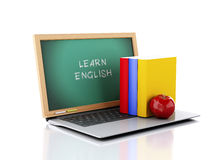 Laptop with chalkboard. Learn English concept. 3d illustration Royalty Free Stock Photo