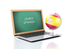 Laptop with chalkboard with learn spanish text. 3d illustration. Image of Laptop with chalkboard with learn spanish text. 3d illustration on white background Stock Photo