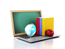 Laptop with chalkboard. online education concept. 3d ilustration Stock Photography