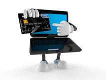 Laptop character with credit card Royalty Free Stock Photo